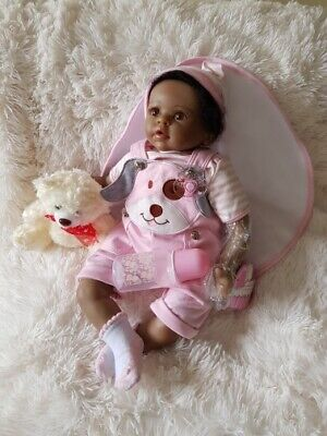 African American Baby Reborn Dolls Cute Silicone Black Newborns Look Real 22""
