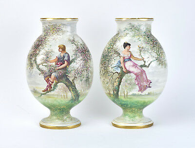 Pair St. Denis Antique French Porcelain Vases Hand Painted Lovers Perched Trees