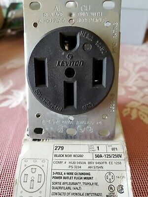NIB Leviton, 3-Pole, 4 Wire Outlet, Flush Mount, 125/250V, 50A, 279   BRY9450FR