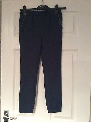 Ted Baker Girls Blue/rose Gold Cuffed Bow Front Patterned Trousers Age 9-10 Vgc