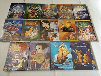 Disney Princess Bundle Lion King Moana Aladdin Frozen Cinderella Brand New DVD