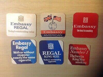 6 Smoking Tobacco Related Beer Mats Embassy, Vernon Pools