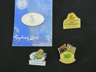 Bulk Lot Of 4 Metal Badges And Pins World Expo 88 Sydney 2000 Olympics