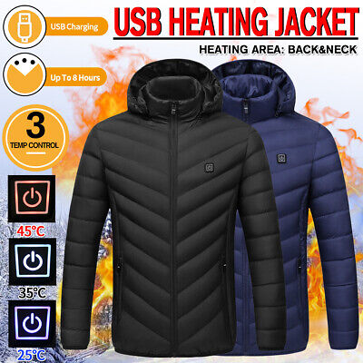 Men Women Electric Heating Vest USB Hooded Heated Coats Jackets Outdoors Warm .@