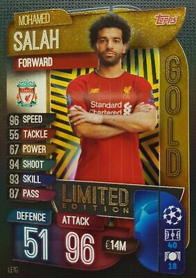 Match Attax 2019/20 MOHAMED SALAH Gold Limited Edition card Topps Liverpool 2020