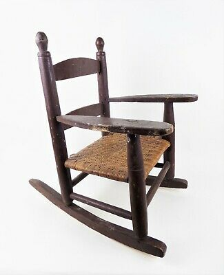 Antique Vintage Child's Wooden Rocking Chair Woven Cane Seat Brown Rustic