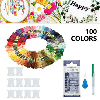 100 Colors Egyptian Cross Stitch Cotton Sewing Skeins Embroidery Thread Floss