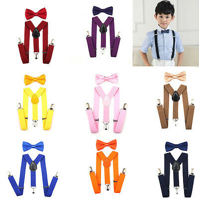 Kids Boys Girls Baby Toddlers Solid Suspender and Bow Tie Set Adjustable New