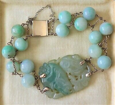 Antique Chinese Carved Green Jadeite Pendant Bead 10K Yellow Gold Bracelet