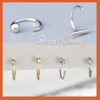 925 Sterling Solid Silver Crystal Ear Nose Stud Open Ring Hoop Earring Piercing