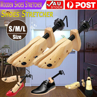 NEW 2-Way Wooden Shoes Stretcher Expander Shoe Timber Unisex Bunion Plugs AU