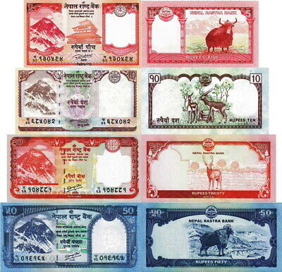 NEPAL - Lotto 4 banconote 5/10/20/50 Rupees Everest FDS - UNC