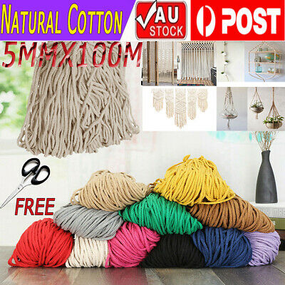 5mm 100m Natural Cotton Cord Craft Macrame Artisan Rope Craft String Twisted