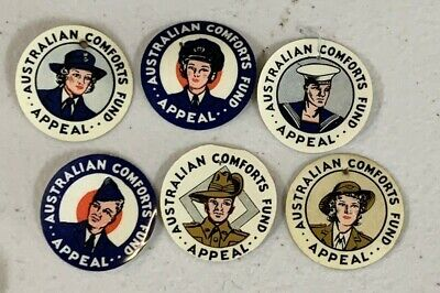 6 SOUTH Australia WW2 AUSTRALIAN COMFORTS FUND APPEAL DAY BADGE PINS