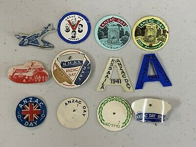 12 Early Anzac Day Badge Pins Includes Ww2 Tank Spitfire Navy Anzac A 1941