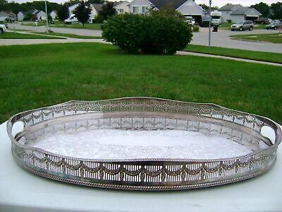 22x16 Vtg Sheffield EH Parkin & Co Silver Plate Oval Ornate Gallery Serving Tray