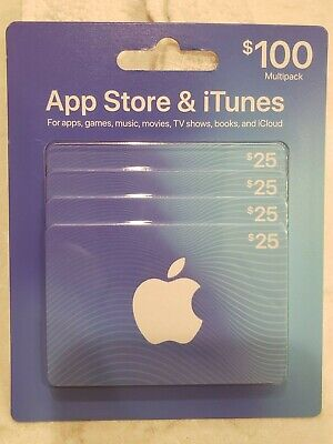 Apple App Store & Itunes gift card multipack, 4 -$25 gift cards = $100