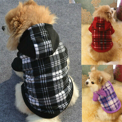 Pet Dog Hoodie Warm Winter Check Coat Sweater Clothes Puppy Cat Costume Jumper