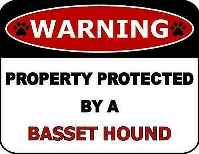 12x12 inch Caution Area Patrolled by Basset Hound Security Metal Sign//Plaque