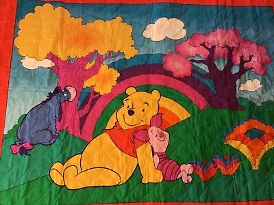 Crib Quilt Winnie The Pooh Multicolored Hand Made Cotton Top Flannel Backing