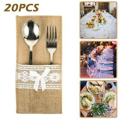 20Pcs Hessian Burlap Cutlery Holder Bag Wedding Party Christmas Tableware Bags