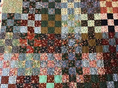 Crib Quilt Patchwork Multicolored Cotton Top Flannel Backing Hand Made