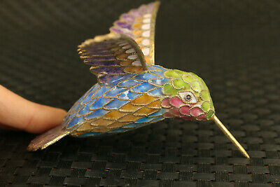 chinese old royal cloisonne hand carved hummingbird statue