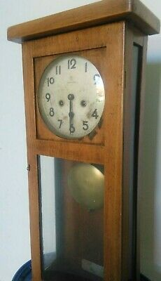 Vintage Antique Junghans Chiming Wall Clock German Wind Up Pendulum 1900s Key