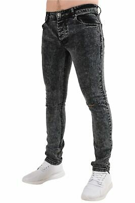Men Skinny Jeans Knee Ripped Super Stretch Denim Cotton Pants Trousers All Waist