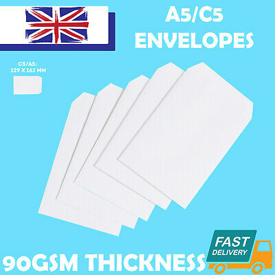 Quality C5/A5 Plain 90Gsm White Envelopes Self Seal Strong Paper 229Mm X 162Mm
