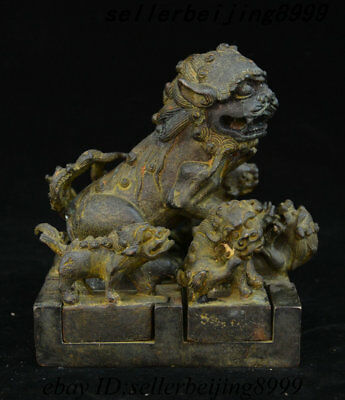 6 Chinese Palace Bronze Lion Beast Set Dynasty imperial Seal Stamp Signet Statue