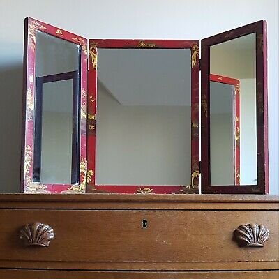 Beautiful 1920s Chinoiserie Triptych Mirror