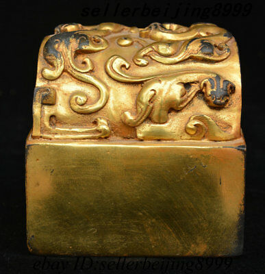 Ancient China Dynasty Palace Bronze Gilt Dragon Beast imperial Seal Stamp Signet