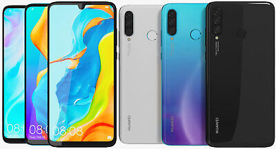HUAWEI P30 LITE 128GB - UNLOCKED - Black / Peacock Blue Smartphone Mobile Phone