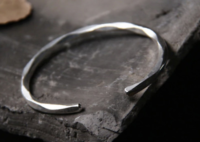 Unisex 925 Solid Sterling Silver Thin Slim Twist Band Viking Simple Open Bangle