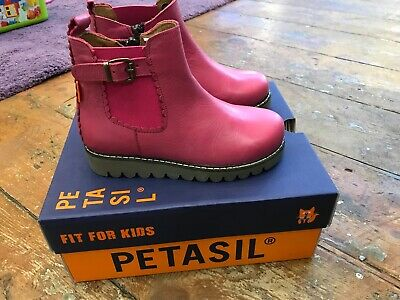 Petasil Pink (fuchsia) girls leather ankle boots in size EU27/UK9 wide fitting
