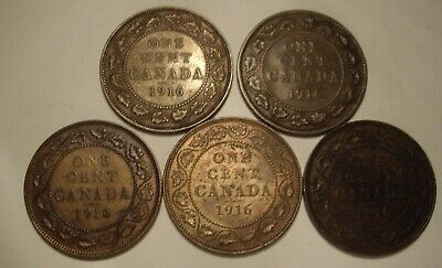 Canada George V 1916 Large Cents - Lot of 5 Coins