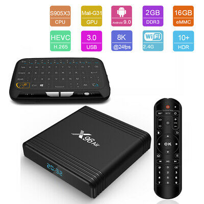 X96 Air 8K UHD Quad Core S905-X3 Android 9.0 Amlogic TV Box+Toucpad Keyboard