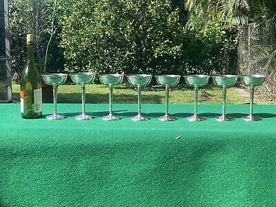 Set Of 8 International Sterling Tall Toasting Champagne / Sherbet Goblets P108