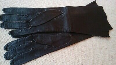 Vintage Fownes Long Finest Black Leather Women's Gloves Size 7 Unlined