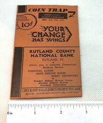 Vintage RUTLAND COUNTY SAVINGS BANK 10 Cent COIN TRAP Booklet Vermont