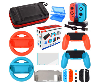 Accessories Kit for Nintendo Switch Games Bundle Wheel Grip Caps Carrying Case S