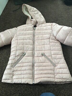 Next Coat. Girls aged 12 years. Pink hooded winter coat, padded warm school coat