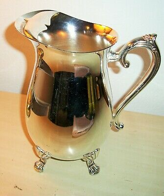 Silver Plate Footed Pitcher with Ice Guard Ornate