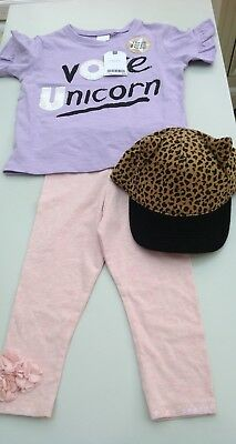 Next baby girls top, leggings and hat age 18 months - two years
