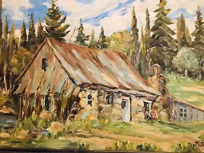 Original Landscape,Old Homestead Amongst The Pines, Cdn. Artist:M.Dubreuil 16x20