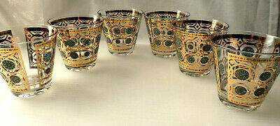 VTG CULVER Ltd. Mid- Century Gold&Turquoise Glass Set of 6 Tumbler AZTEC Pattern