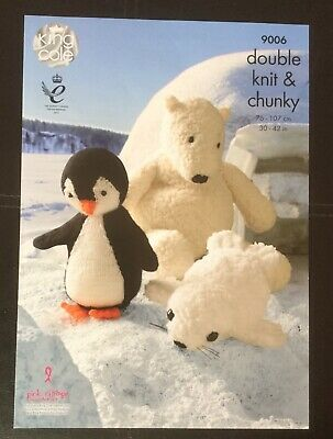 King Cole super chunky Toy Knitting pattern family of polar bears  9094