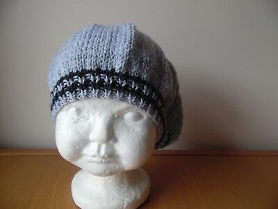 Hand knitted baby girls beret style hat, silver grey, age 9-12 months