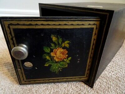 antique Victorian WALL SAFE LOCK BOX steel iron WOOD LINED tole painted 19thC